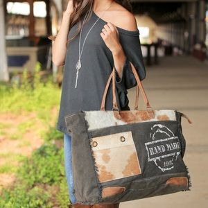 """""""Hand made"""" canvas and hair on weekender bag"""